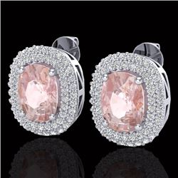 Natural 5.50 CTW Morganite & Micro Pave Diamond Certified Halo Earrings 18K White Gold - 20123-REF#-