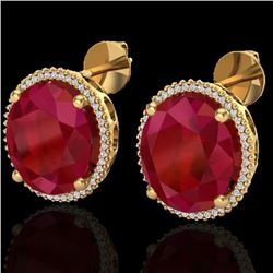 Natural 25 CTW Ruby & Micro Pave Diamond Certified Halo Earrings 18K Yellow Gold - 20276-REF#-143T5K