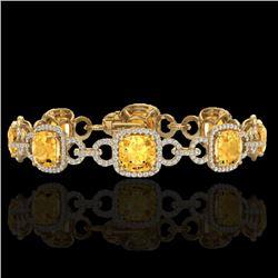 Natural 30 CTW Citrine & Micro Diamond Certified Bracelet 14K Yellow Gold - 23020-REF#-267G7N