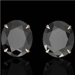 Natural 18 CTW Black Diamond Certified Designer Solitaire Stud Earrings 14K Rose Gold - 21694-REF#-2