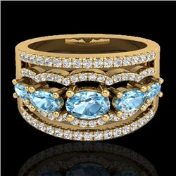 Natural 2.25 CTW Sky Blue Topaz & Micro Pave Diamond Certified Designer Ring 10K Yellow Gold - 20796