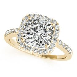 0.60 CTW Certified SI-I Cushion Diamond Bridal Solitaire Halo Ring 18K - 27113-#70H3W