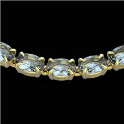 Natural 29 CTW Aquamarine Eternity Tennis Necklace 14K Yellow Gold - 23372-REF#-189N8A