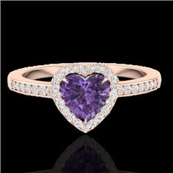 Natural 1 CTW Amethyst & Micro Pave Ring Heart Halo IN 14K Rose Gold - 21399-REF#-24R5H