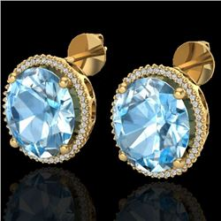 Natural 25 CTW Sky Blue Topaz & Micro Diamond Certified Halo Earrings 18K Yellow Gold - 20266-REF#-1