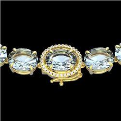 Natural 102 CTW Aquamarine & Diamond Halo Micro Eternity Necklace 14K Yellow Gold - 22290-REF#-729T5
