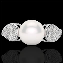Natural .27 CTW Micro Pave Diamond Certified & White Pearl Designer Ring 18K White Gold - 22643-REF#