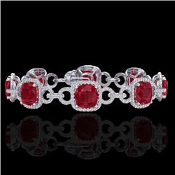 Natural 25 CTW Ruby & Micro Diamond Certified Bracelet 14K White Gold - 23028-REF#-263F9V