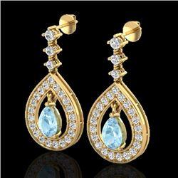 Natural 2.25 CTW Aquamarine & Micro Pave Diamond Earrings Designer 14K Yellow Gold - 23147-REF#-94F7