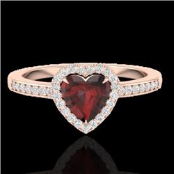Natural 1.20 CTW Garnet & Micro Diamond Certified Ring Heart Halo IN 14K Rose Gold - 21405-REF#-24H7