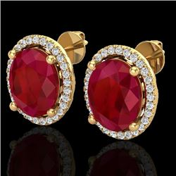 Natural 6 CTW Ruby & Micro Pave Diamond Certified Earrings Halo 18K Yellow Gold - 21063-REF#-57A3X