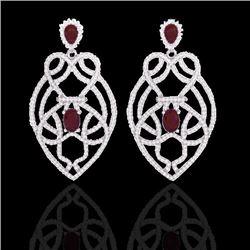 Natural 7 CTW Ruby & Micro Diamond Heart Earrings Designer Solitaire 14K White Gold - 21138-REF#-224