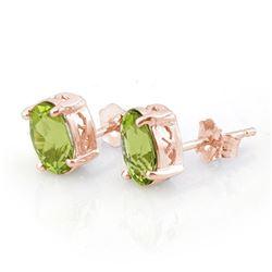 Genuine 2.0 ctw Peridot Solitaire Stud Earrings 14K Rose Gold - 10279-#16A2N