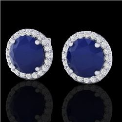 Natural 4 CTW Sapphire & Halo Diamond Micro Pave Earrings Solitaire 18K White Gold - 21503-REF#-53F5