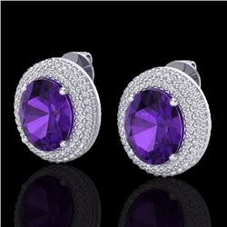 Natural 8 CTW Amethyst & Micro Pave Diamond Certified Earrings 18K White Gold - 20212-REF#-105N9A