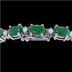 Natural 15 CTW Emerald & Diamond Certified Eternity Bracelet 10K White Gold - 21448-REF#-67R8H