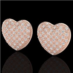 Natural 1.50 Designer CTW Micro Pave Diamond Certified Heart Earrings 14K Rose Gold - 20176-REF#-75A