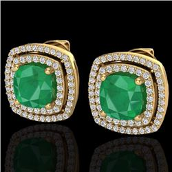 Natural 3 CTW EMERAL & Micro Pave Diamond Certified Halo Earrings 18K Yellow Gold - 20163-REF#-83G7N
