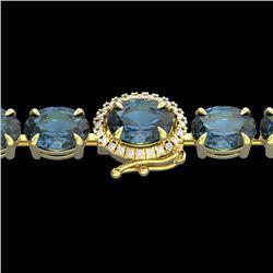 Natural 36 CTW London Blue Topaz & Diamond Tennis Micro Halo Bracelet 14K Yellow Gold - 23448-REF#-8