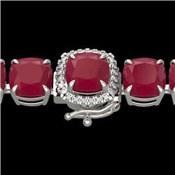 Natural 46 CTW Ruby & Micro Pave Diamond Halo Designer Bracelet 14K White Gold - 23322-REF#-176F8V
