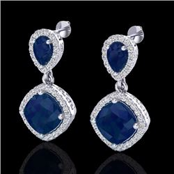Natural 7 CTW Sapphire & Micro Pave Diamond Certified Earrings Designer Halo 10K White Gold - 20209-