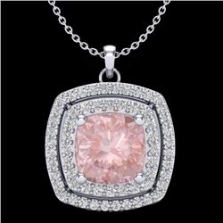 Natural 1.50 CTW Morganite & Micro Diamond Certified Halo Necklace 18K White Gold - 20460-REF#-66M2F
