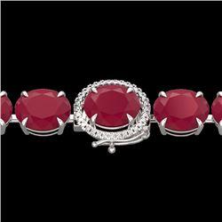 Natural 49 CTW Ruby & Micro Pave Diamond Halo Designer Bracelet 14K White Gold - 22275-REF#-216W2G
