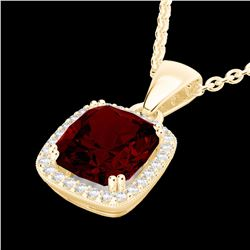 Natural 3 CTW Garnet & Micro Diamond Pave Halo Solitaire Necklace 18K Yellow Gold - 22825-REF#-42H2M