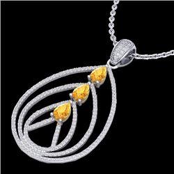 Natural 2 CTW Citrine & Micro Pave Diamond Certified Designer Necklace 18K White Gold - 22464-REF#-1