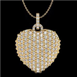 Natural 3 CTW Micro Pave Diamond Certified Designer Heart Necklace 18K Yellow Gold - 20467-REF#-137R