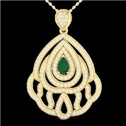 Natural 2 CTW Emerald & Micro Pave Diamond Designer Necklace IN 18K Yellow Gold - 21262-REF#-123M5F