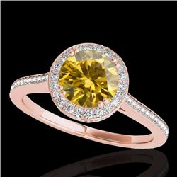 2.03 CTW Certified Fancy Intense Genuine Diamond Solitaire Halo Ring 10K Rose Gold - 33543-REF#192N8