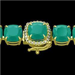 46 CTW Emerald & Micro Pave Diamond Halo Bracelet 14K Yellow Gold - 23306-REF#176F8N