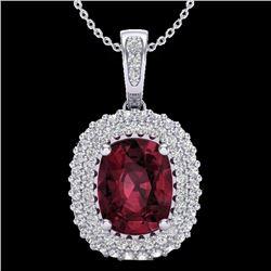 2.60 CTW Garnet & Micro Pave Diamond Certified Halo Necklace 10K White Gold - 20408-REF#40A8V