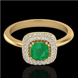 1.16 CTW Emerald & Micro Diamond Ring Solitaire Double Halo 18K Yellow Gold - 21029-REF#66N8F