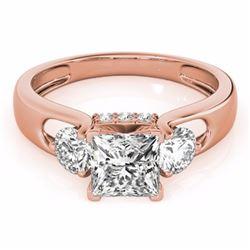 1.60 CTW Certified I - Princess Cut Fancy Intense Diamond 3 Stone Ring 10K Rose Gold - 35429-REF#187