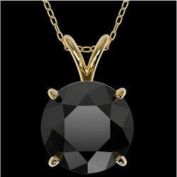 2.58 CTW Fancy Black Genuine Diamond Bridal Solitaire Necklace 10K Yellow Gold - 36823-REF#57X8Y