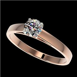 0.55 CTW Certified H-I Quality Genuine Diamond Solitaire Engagement Ring 10K Rose Gold - 36465-REF#4