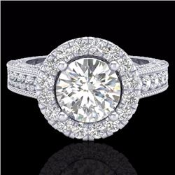 2.25 CTW Vintage Solitaire Bridal Diamond Halo Ring 14K White Gold - 21117-REF#255X8Y