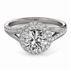 1.60 CTW Certified Black Genuine Diamond Bridal Solitaire Halo Ring 10K White Gold - 34117-REF#70Z8T