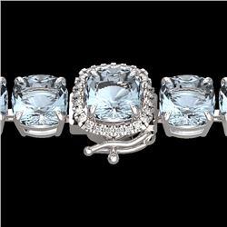 35 CTW Sky Blue Topaz & Micro Diamond Halo Bracelet 14K White Gold - 23327-REF#121G4M