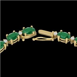 35 CTW Emerald & Diamond Certified Eternity Tennis Necklace 10K Yellow Gold - 21593-REF#149A2V