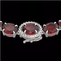 80 CTW Garnet & Diamond Eternity Tennis Micro Halo Necklace 14K White Gold - 23462-REF#174H4W