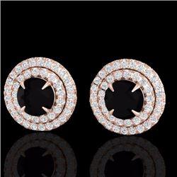 2 CTW Micro Pave Diamond Certified Stud Earrings Double Halo 14K Rose Gold - 21464-REF#80R8K