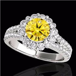 2.51 CTW Certified Fancy Intense Genuine Diamond Solitaire Halo Ring 10K White Gold - 33947-REF#202Y