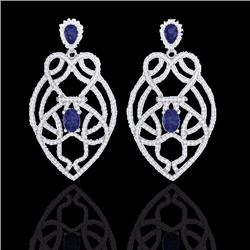 7 CTW Tanzanite & Micro Diamond Heart Earrings Solitaire 14K White Gold - 21143-REF#237F6N