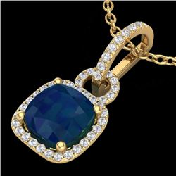 3 CTW Sapphire & Micro Diamond Certified Necklace 18K Yellow Gold - 22991-REF#44Y2X
