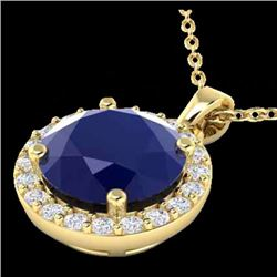 2 CTW Sapphire & Halo Diamond Micro Pave Necklace Solitaire 18K Yellow Gold - 21576-REF#36W8H