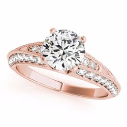 1.58 CTW Certified Fancy Blue Genuine Diamond Solitaire Antique Ring 10K Rose Gold - 34627-REF#116A8