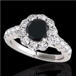 3 CTW Certified Black Genuine Diamond Bridal Solitaire Halo Ring 10K White Gold - 33556-REF#126M8G